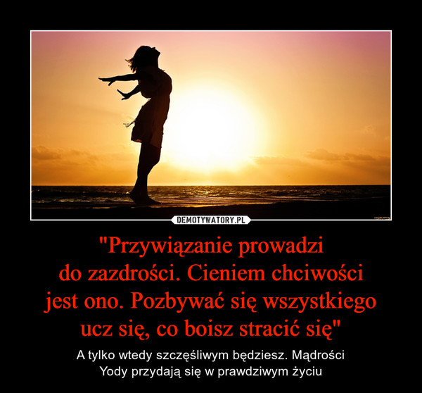 """""""Przywiązanie prowadzido zazdrości. Cieniem chciwościjest ono. Pozbywać się wszystkiegoucz się, co boisz stracić się"""" – A tylko wtedy szczęśliwym będziesz. MądrościYody przydają się w prawdziwym życiu"""