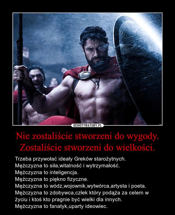 Nie zostaliście stworzeni do wygody. Zostaliście stworzeni do wielkości. – Trzeba przywołać ideały Greków starożytnych.Mężczyzna to siła,witalność i wytrzymałość.Mężczyzna to inteligencja.Mężczyzna to piękno fizyczne.Mężczyzna to wódz,wojownik,wytwórca,artysta i poeta.Mężczyzna to zdobywca,człek który podąża za celem w życiu i ktoś kto pragnie być wielki dla innych.Mężczyzna to fanatyk,uparty ideowiec.