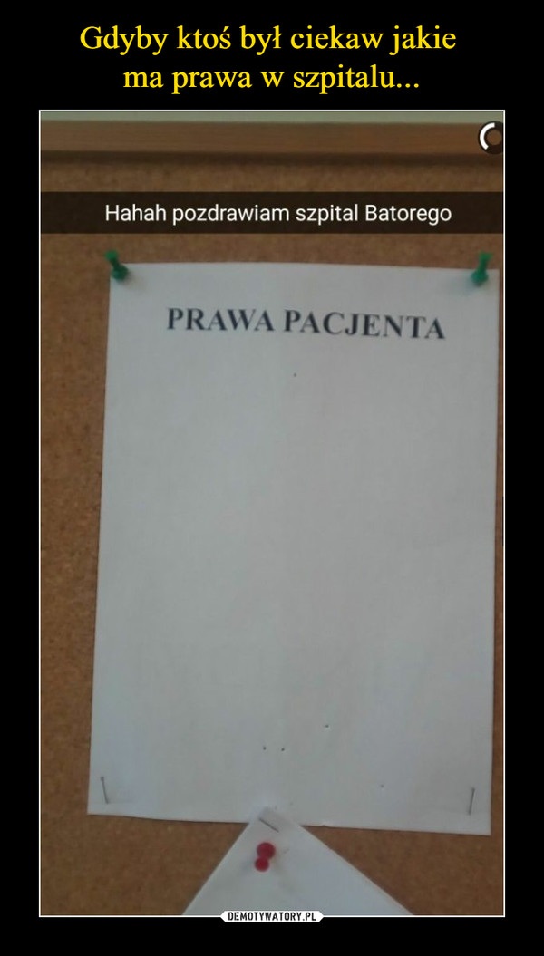 –  Haha pozdrawiam szpital BatoregoPrawa pacjenta