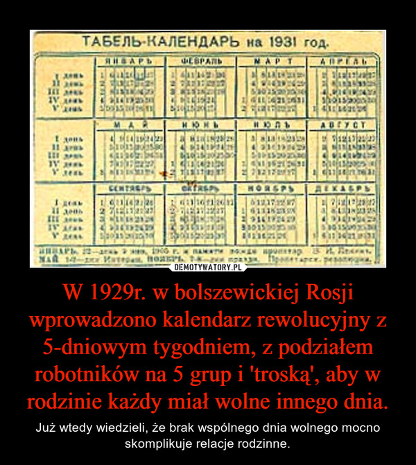 W 1929r. w bolszewickiej Rosji wprowadzono kalendarz rewolucyjny z 5-dniowym tygodniem, z podziałem robotników na 5 grup i 'troską', aby w rodzinie każdy miał wolne innego dnia. – Już wtedy wiedzieli, że brak wspólnego dnia wolnego mocno skomplikuje relacje rodzinne.