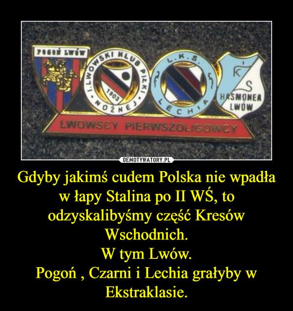 Gdyby jakimś cudem Polska nie wpadła w łapy Stalina po II WŚ, to odzyskalibyśmy część Kresów Wschodnich.W tym Lwów.Pogoń , Czarni i Lechia grałyby w Ekstraklasie. –