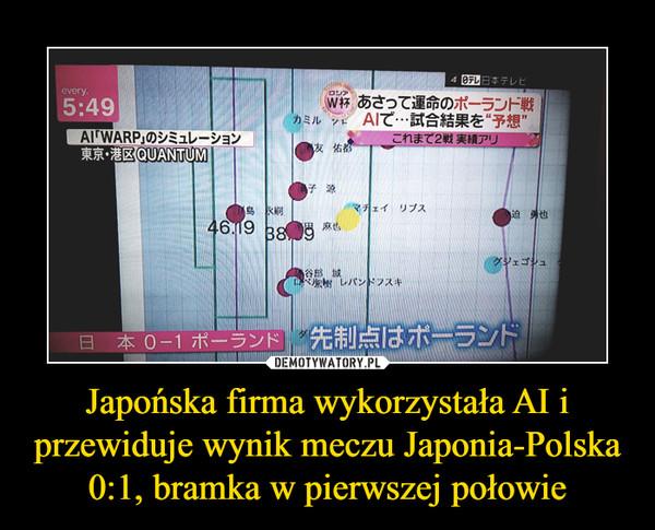 Japońska firma wykorzystała AI i przewiduje wynik meczu Japonia-Polska 0:1, bramka w pierwszej połowie –
