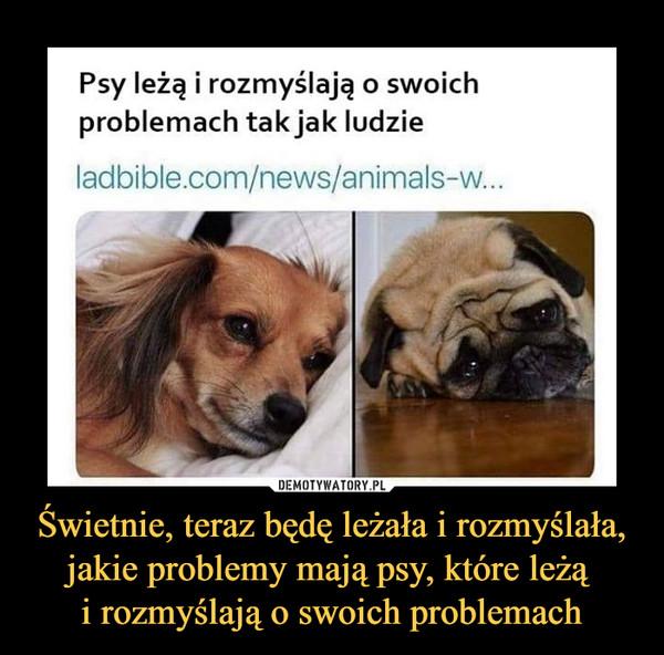 Świetnie, teraz będę leżała i rozmyślała, jakie problemy mają psy, które leżą i rozmyślają o swoich problemach –  Psy leżą i rozmyślają o swoich problemach tak jak ludzie