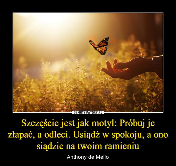Szczęście jest jak motyl: Próbuj je złapać, a odleci. Usiądź w spokoju, a ono siądzie na twoim ramieniu – Anthony de Mello