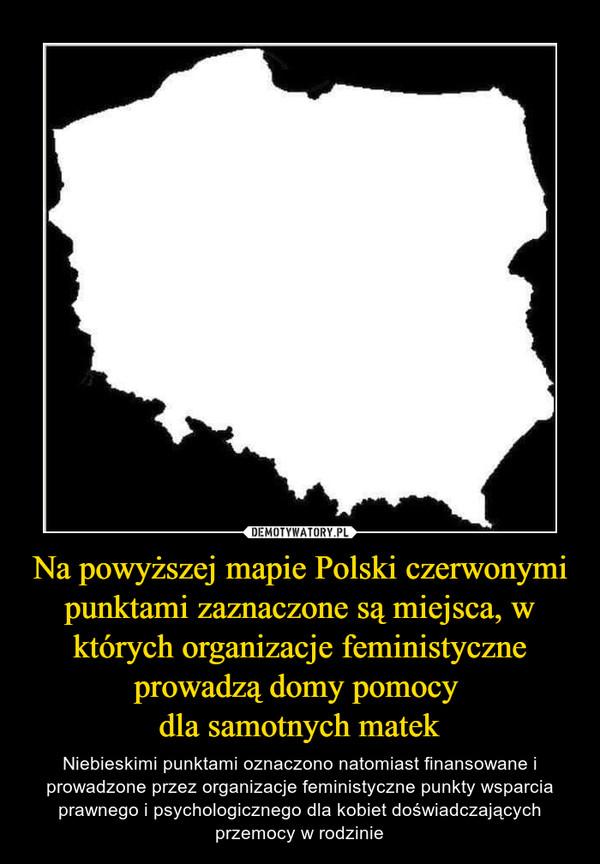 Na powyższej mapie Polski czerwonymi punktami zaznaczone są miejsca, w których organizacje feministyczne prowadzą domy pomocy dla samotnych matek – Niebieskimi punktami oznaczono natomiast finansowane i prowadzone przez organizacje feministyczne punkty wsparcia prawnego i psychologicznego dla kobiet doświadczających przemocy w rodzinie