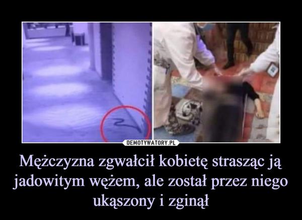 Mężczyzna zgwałcił kobietę strasząc ją jadowitym wężem, ale został przez niego ukąszony i zginął –
