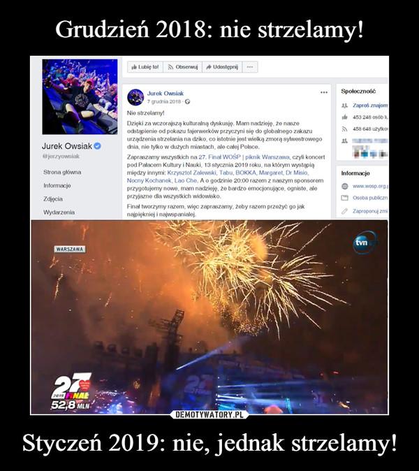 Styczeń 2019: nie, jednak strzelamy! –