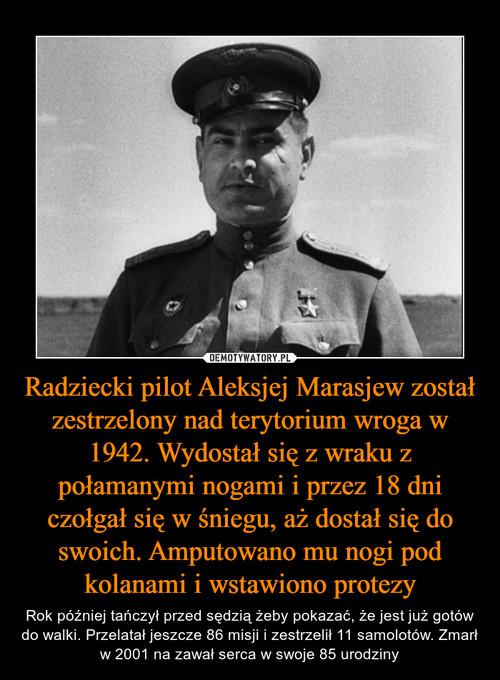 Radziecki pilot Aleksjej Marasjew został zestrzelony nad terytorium wroga w 1942. Wydostał się z wraku z połamanymi nogami i przez 18 dni czołgał się w śniegu, aż dostał się do swoich. Amputowano mu nogi pod kolanami i wstawiono protezy