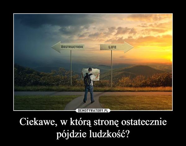 Ciekawe, w którą stronę ostatecznie pójdzie ludzkość? –