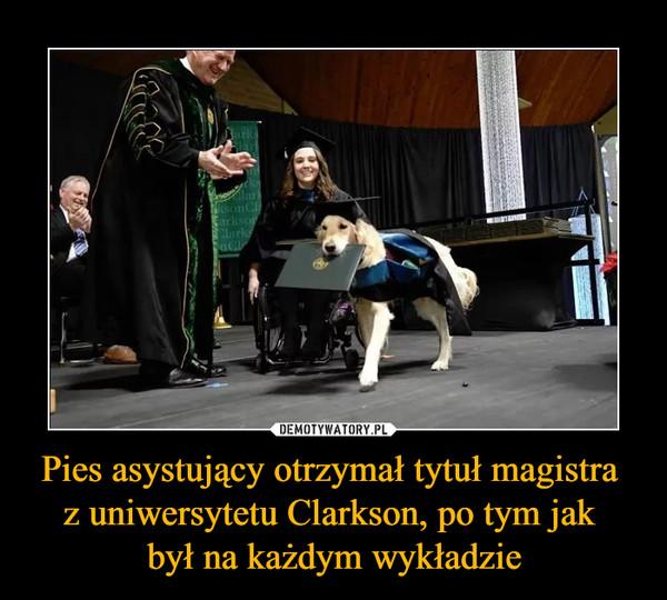 Pies asystujący otrzymał tytuł magistra z uniwersytetu Clarkson, po tym jak był na każdym wykładzie –