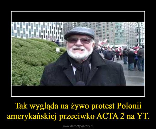 Tak wygląda na żywo protest Polonii amerykańskiej przeciwko ACTA 2 na YT. –