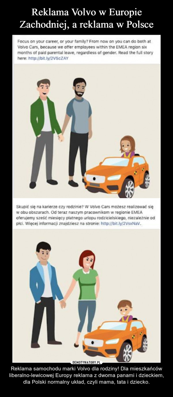 – Reklama samochodu marki Volvo dla rodziny! Dla mieszkańców liberalno-lewicowej Europy reklama z dwoma panami i dzieckiem, dla Polski normalny układ, czyli mama, tata i dziecko.
