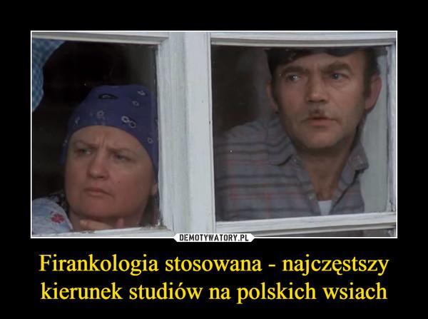 Firankologia stosowana - najczęstszy kierunek studiów na polskich wsiach –