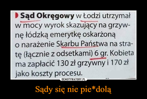 Sądy się nie pie*dolą –  Sąd Okręgowy w Łodzi utrzymałw mocy wyrok skazujący na grzyw-ne tódzką emerytkę oskarżonąo narażenie Skarbu Państwa na stra-tę (łącznie z odsetkami) 6 gr. Kobietama zapłacić 130 zł grzywny i 170 złjako koszty procesu.