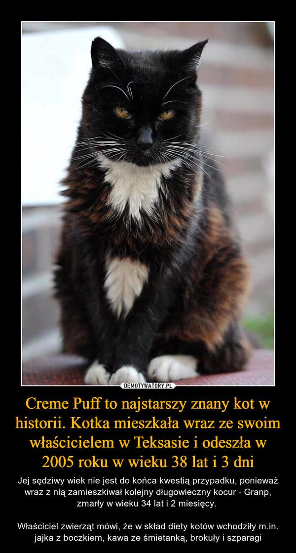 Creme Puff to najstarszy znany kot w historii. Kotka mieszkała wraz ze swoim właścicielem w Teksasie i odeszła w 2005 roku w wieku 38 lat i 3 dni – Jej sędziwy wiek nie jest do końca kwestią przypadku, ponieważ wraz z nią zamieszkiwał kolejny długowieczny kocur - Granp, zmarły w wieku 34 lat i 2 miesięcy. Właściciel zwierząt mówi, że w skład diety kotów wchodziły m.in. jajka z boczkiem, kawa ze śmietanką, brokuły i szparagi