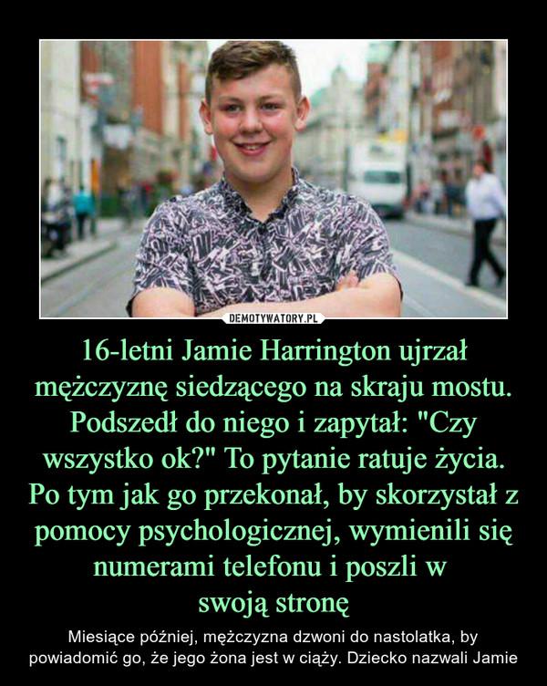 """16-letni Jamie Harrington ujrzał mężczyznę siedzącego na skraju mostu. Podszedł do niego i zapytał: """"Czy wszystko ok?"""" To pytanie ratuje życia. Po tym jak go przekonał, by skorzystał z pomocy psychologicznej, wymienili się numerami telefonu i poszli w swoją stronę – Miesiące później, mężczyzna dzwoni do nastolatka, by powiadomić go, że jego żona jest w ciąży. Dziecko nazwali Jamie"""