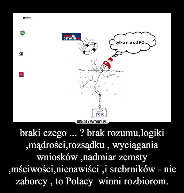 braki czego ... ? brak rozumu,logiki ,mądrości,rozsądku , wyciągania wniosków ,nadmiar zemsty ,mściwości,nienawiści ,i srebrników - nie zaborcy , to Polacy  winni rozbiorom. –