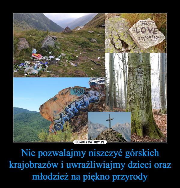Nie pozwalajmy niszczyć górskich krajobrazów i uwrażliwiajmy dzieci oraz młodzież na piękno przyrody –