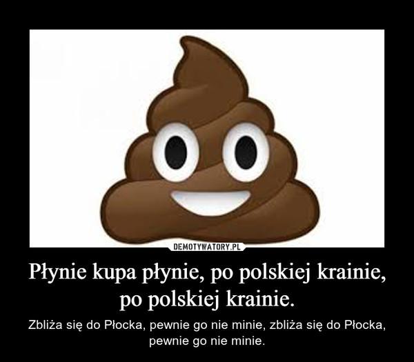 Płynie kupa płynie, po polskiej krainie, po polskiej krainie. – Zbliża się do Płocka, pewnie go nie minie, zbliża się do Płocka, pewnie go nie minie.