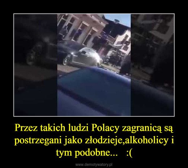 Przez takich ludzi Polacy zagranicą są postrzegani jako złodzieje,alkoholicy i tym podobne...   :( –