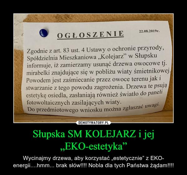 """Słupska SM KOLEJARZ i jej """"EKO-estetyka"""" – Wycinajmy drzewa, aby korzystać """"estetycznie"""" z EKO- energii....hmm... brak słów!!!! Nobla dla tych Państwa żądam!!!!"""