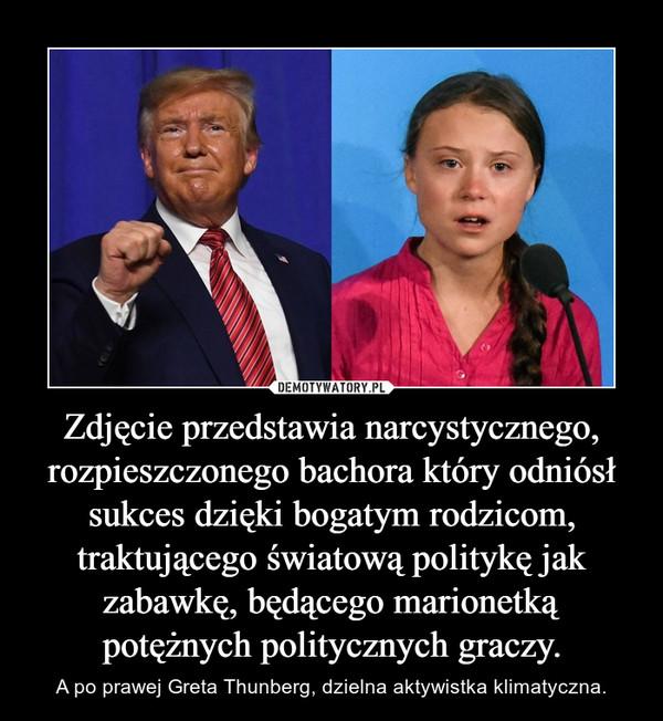Zdjęcie przedstawia narcystycznego, rozpieszczonego bachora który odniósł sukces dzięki bogatym rodzicom, traktującego światową politykę jak zabawkę, będącego marionetką potężnych politycznych graczy. – A po prawej Greta Thunberg, dzielna aktywistka klimatyczna.