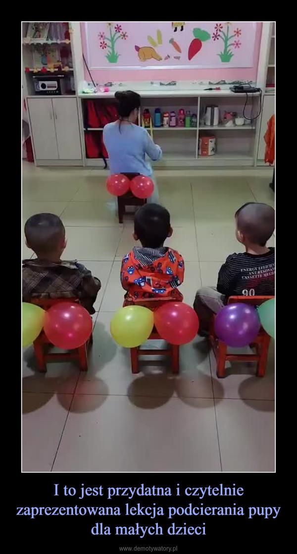 I to jest przydatna i czytelnie zaprezentowana lekcja podcierania pupy dla małych dzieci –