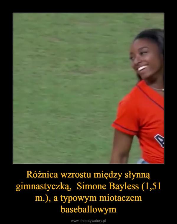 Różnica wzrostu między słynną gimnastyczką,  Simone Bayless (1,51 m.), a typowym miotaczem baseballowym –