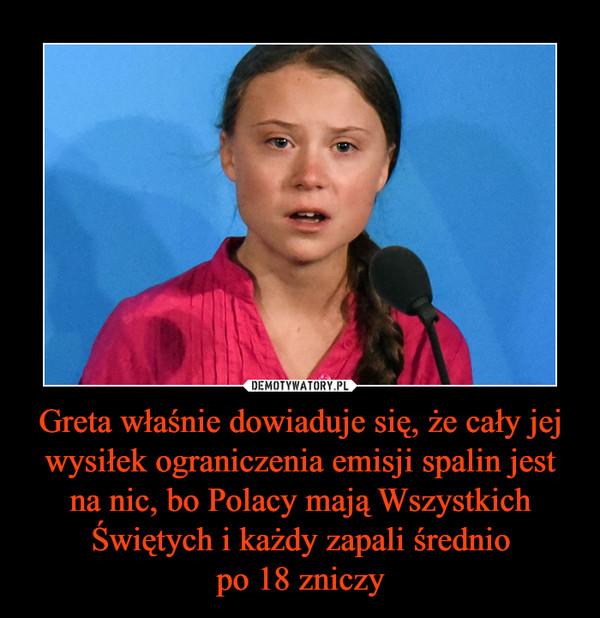 Greta właśnie dowiaduje się, że cały jej wysiłek ograniczenia emisji spalin jest na nic, bo Polacy mają Wszystkich Świętych i każdy zapali średniopo 18 zniczy –