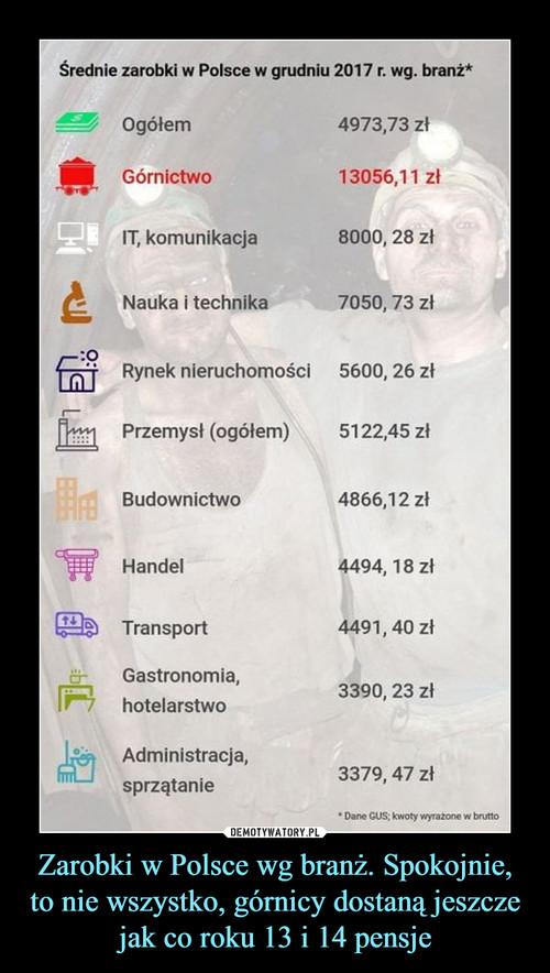 Zarobki w Polsce wg branż. Spokojnie, to nie wszystko, górnicy dostaną jeszcze jak co roku 13 i 14 pensje