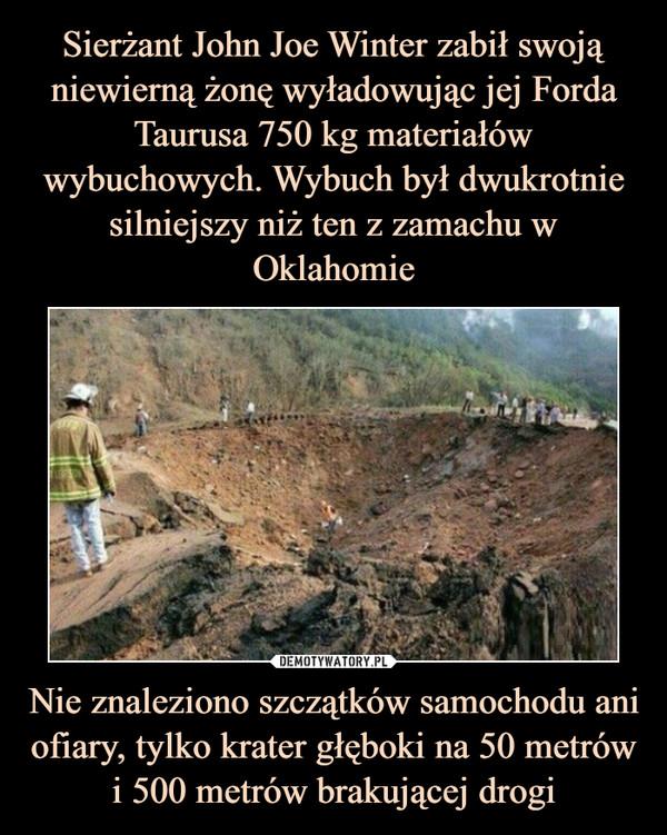 Nie znaleziono szczątków samochodu ani ofiary, tylko krater głęboki na 50 metrów i 500 metrów brakującej drogi –