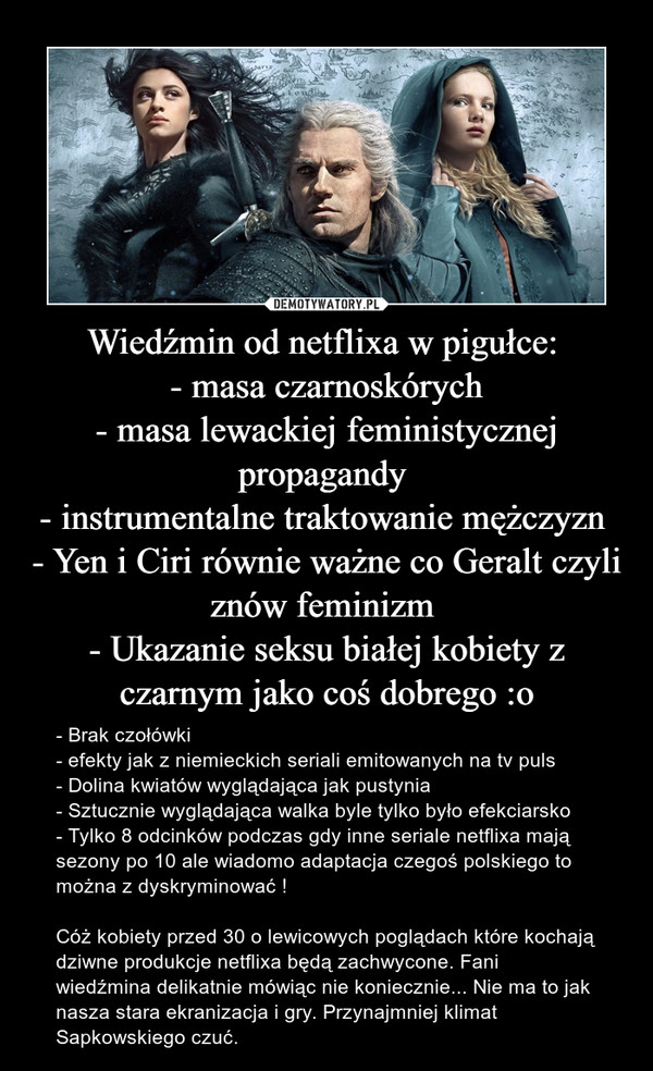 Wiedźmin od netflixa w pigułce: - masa czarnoskórych- masa lewackiej feministycznej propagandy - instrumentalne traktowanie mężczyzn - Yen i Ciri równie ważne co Geralt czyli znów feminizm - Ukazanie seksu białej kobiety z czarnym jako coś dobrego :o – - Brak czołówki - efekty jak z niemieckich seriali emitowanych na tv puls - Dolina kwiatów wyglądająca jak pustynia - Sztucznie wyglądająca walka byle tylko było efekciarsko - Tylko 8 odcinków podczas gdy inne seriale netflixa mają sezony po 10 ale wiadomo adaptacja czegoś polskiego to można z dyskryminować ! Cóż kobiety przed 30 o lewicowych poglądach które kochają dziwne produkcje netflixa będą zachwycone. Fani wiedźmina delikatnie mówiąc nie koniecznie... Nie ma to jak nasza stara ekranizacja i gry. Przynajmniej klimat Sapkowskiego czuć.