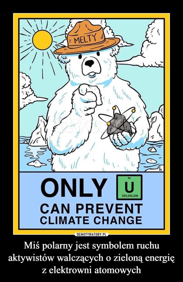 Miś polarny jest symbolem ruchu aktywistów walczących o zieloną energię z elektrowni atomowych –
