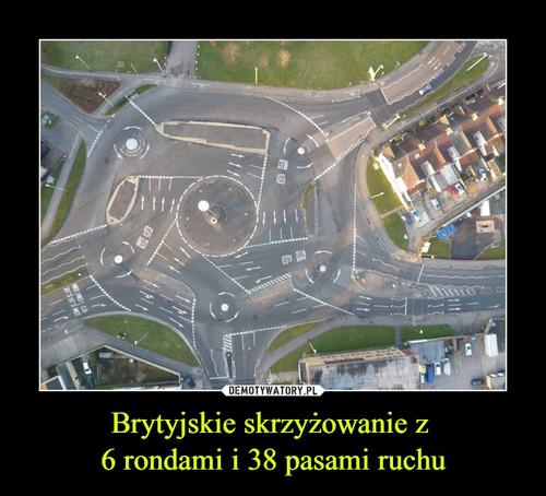 Brytyjskie skrzyżowanie z  6 rondami i 38 pasami ruchu