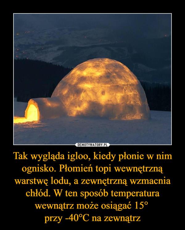 Tak wygląda igloo, kiedy płonie w nim ognisko. Płomień topi wewnętrzną warstwę lodu, a zewnętrzną wzmacnia chłód. W ten sposób temperatura wewnątrz może osiągać 15° przy -40°C na zewnątrz –