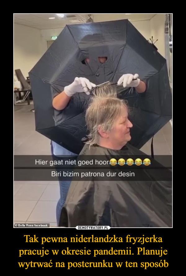 Tak pewna niderlandzka fryzjerka pracuje w okresie pandemii. Planuje wytrwać na posterunku w ten sposób –
