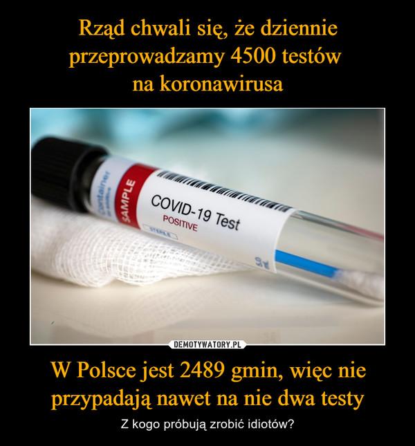 W Polsce jest 2489 gmin, więc nie przypadają nawet na nie dwa testy – Z kogo próbują zrobić idiotów?
