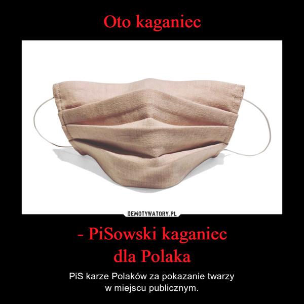 - PiSowski kaganiecdla Polaka – PiS karze Polaków za pokazanie twarzyw miejscu publicznym.