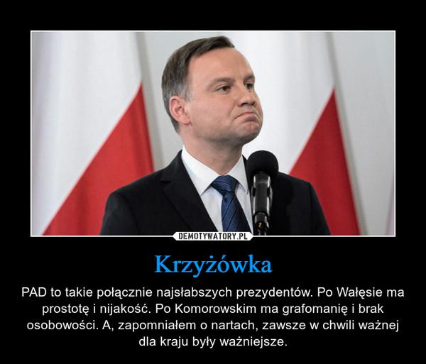 Krzyżówka – PAD to takie połącznie najsłabszych prezydentów. Po Wałęsie ma prostotę i nijakość. Po Komorowskim ma grafomanię i brak osobowości. A, zapomniałem o nartach, zawsze w chwili ważnej dla kraju były ważniejsze.