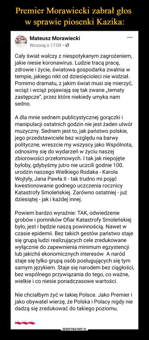 Premier Morawiecki zabrał głos  w sprawie piosenki Kazika: