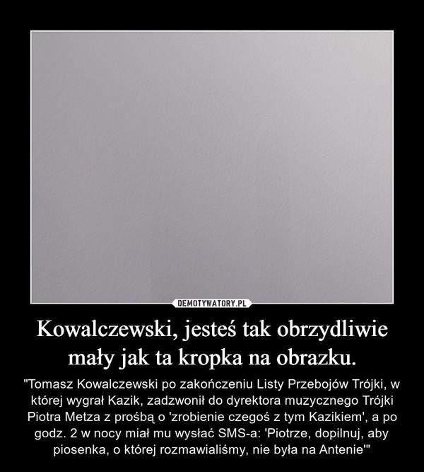 """Kowalczewski, jesteś tak obrzydliwie mały jak ta kropka na obrazku. – """"Tomasz Kowalczewski po zakończeniu Listy Przebojów Trójki, w której wygrał Kazik, zadzwonił do dyrektora muzycznego Trójki Piotra Metza z prośbą o 'zrobienie czegoś z tym Kazikiem', a po godz. 2 w nocy miał mu wysłać SMS-a: 'Piotrze, dopilnuj, aby piosenka, o której rozmawialiśmy, nie była na Antenie'"""""""