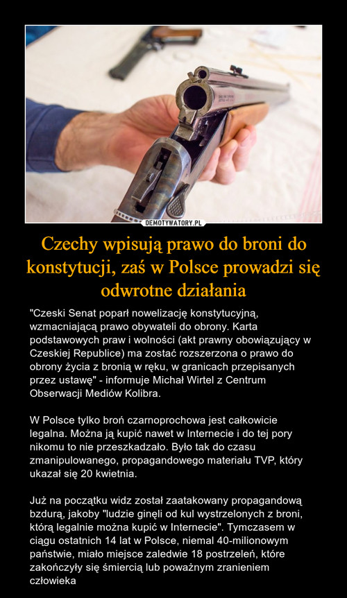 Czechy wpisują prawo do broni do konstytucji, zaś w Polsce prowadzi się odwrotne działania