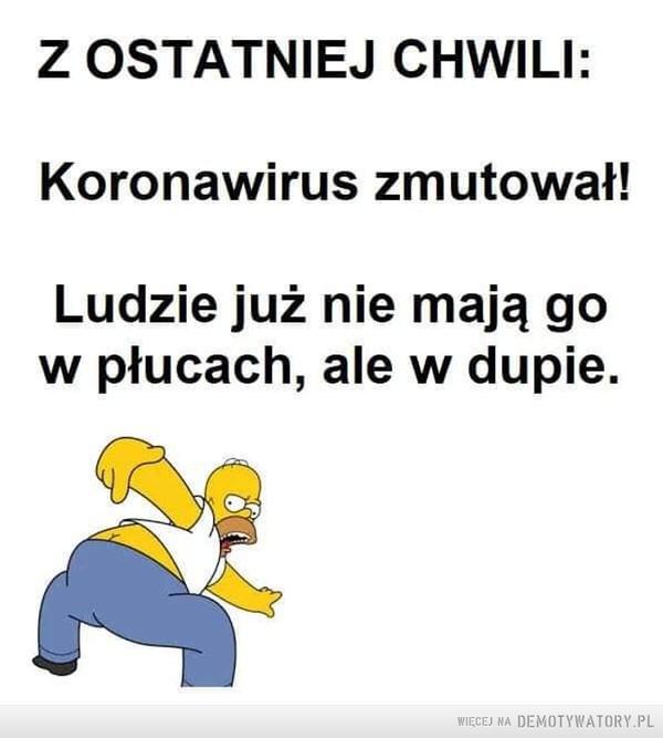 Koronawirus –  Z OSTATNIEJ CHWILI: Koronawirus zmutował! Ludzie już nie mają go w płucach, ale w dupie.