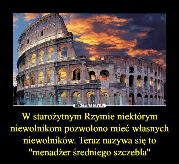 W starożytnym Rzymie niektórym niewolnikom pozwolono mieć własnych niewolników. Teraz nazywa się to ''menadżer średniego szczebla'' –