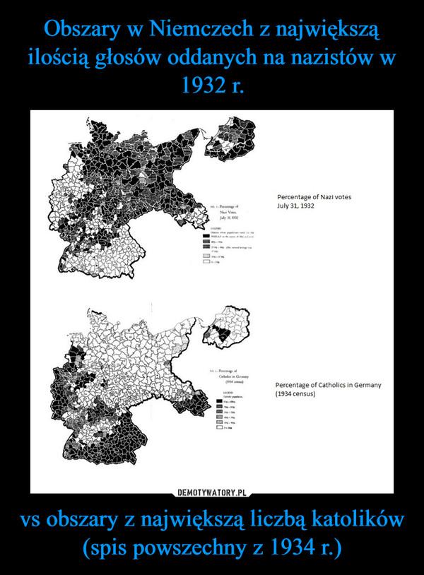 vs obszary z największą liczbą katolików (spis powszechny z 1934 r.) –
