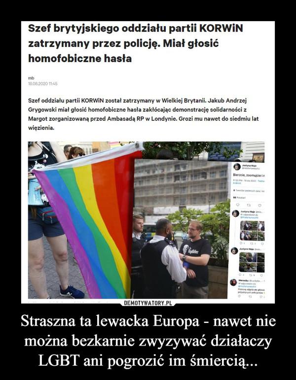 Straszna ta lewacka Europa - nawet nie można bezkarnie zwyzywać działaczy LGBT ani pogrozić im śmiercią... –