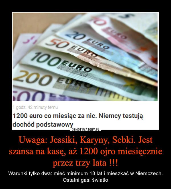 Uwaga: Jessiki, Karyny, Sebki. Jest szansa na kasę, aż 1200 ojro miesięcznie przez trzy lata !!! – Warunki tylko dwa: mieć minimum 18 lat i mieszkać w Niemczech. Ostatni gasi światło 1200 euro co miesiąc za nic. Niemcy testujądochód podstawowy