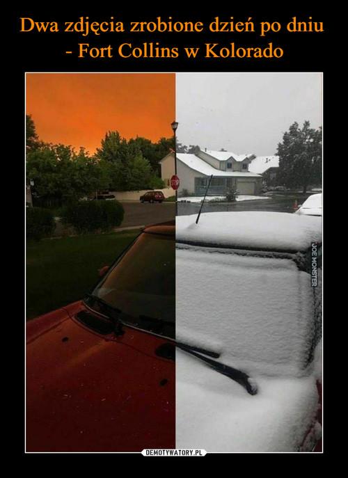Dwa zdjęcia zrobione dzień po dniu  - Fort Collins w Kolorado