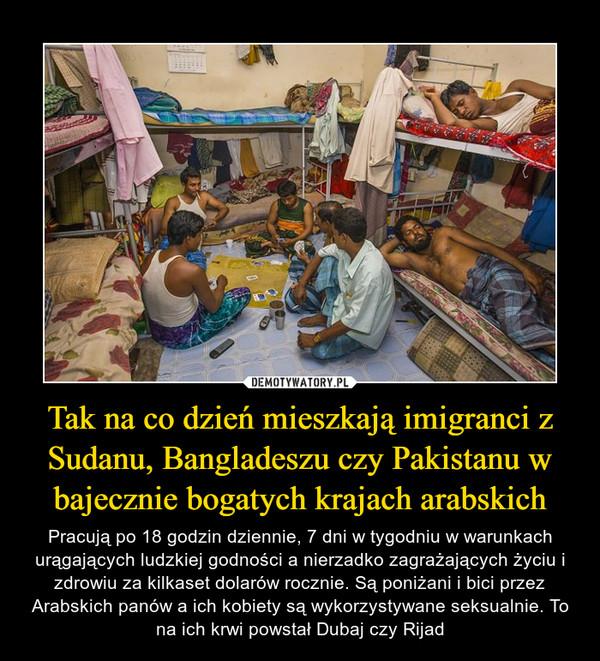 Tak na co dzień mieszkają imigranci z Sudanu, Bangladeszu czy Pakistanu w bajecznie bogatych krajach arabskich – Pracują po 18 godzin dziennie, 7 dni w tygodniu w warunkach urągających ludzkiej godności a nierzadko zagrażających życiu i zdrowiu za kilkaset dolarów rocznie. Są poniżani i bici przez Arabskich panów a ich kobiety są wykorzystywane seksualnie. To na ich krwi powstał Dubaj czy Rijad