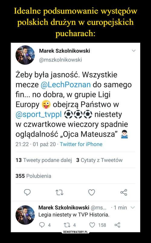 Idealne podsumowanie występów polskich drużyn w europejskich pucharach: